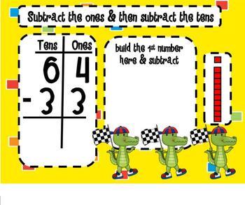 Little Gators 2 Digit Subtraction SMARTBoard Lesson