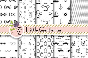 Little Gentleman Seamless Pattern Set. Digital paper pack.
