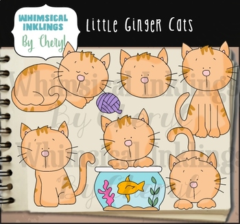Little Ginger Cats Clipart Collection