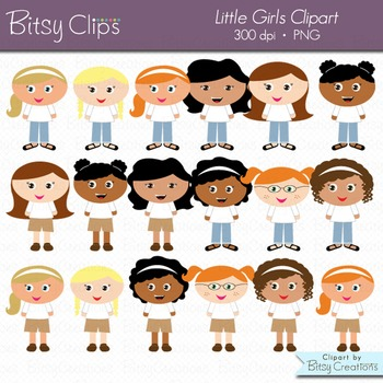 Little Girls Digital Art Set Clipart Commercial Use Clip Art