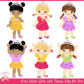 Little Girls with Tiaras Clipart Set