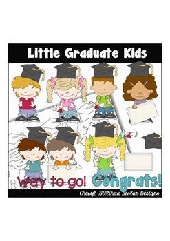 Little Graduate Kids Clipart Collection