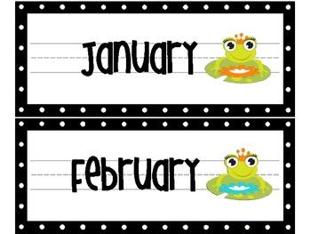 Little Green Frog Calendar Topper Set