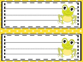 Little Green Frog Editable  Name Plates