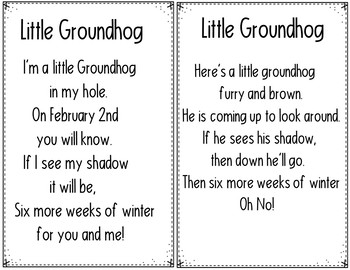 Little Groundhog (2 Groundhog Day Pocket Chart Poems)