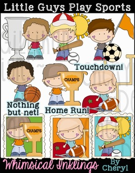 Little Guys Play Sports Clipart Collection