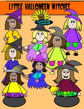 Little Halloween Witches clipart