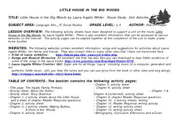 Little House in the Big Woods-Novel Study