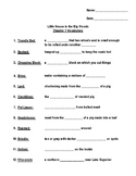 Little House In the Big Woods Vocabulary Worksheet