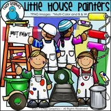 Little House Painters Clip Art - Chirp Graphics