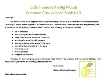 Little House in The Big Woods Book Unit