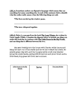 Little House in the Big Woods 3rd Grade Common Core Aligned Assessment