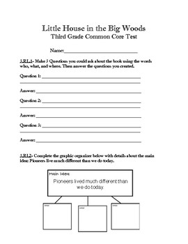 Little House in the Big Woods 3rd Grade Common Core Aligne