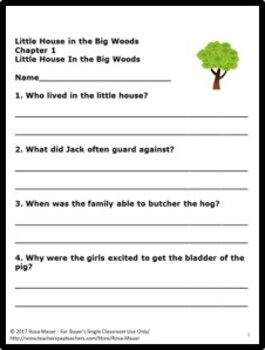 Little House in the Big Woods Literacy Activities