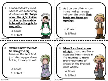Little House in the Big Woods Cause & Effect Task Cards