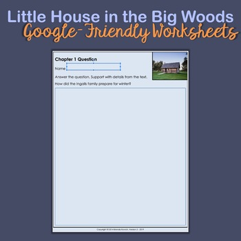 Little House in the Big Woods Questions and Vocabulary - Chapter 1