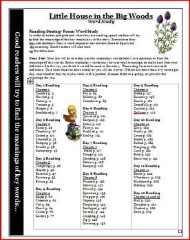 Little House in the Big Woods Word Study Vocabulary Activity