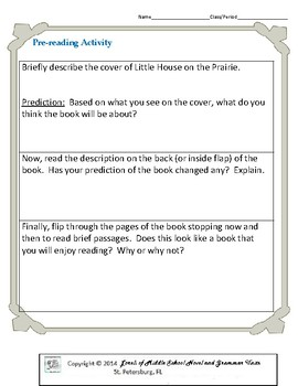 Little House on the Prairie Literature and Grammar Unit