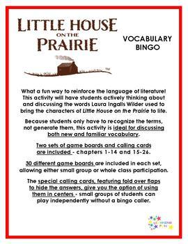 Little House on the Prairie Vocabulary Bingo