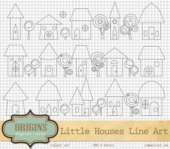 Little Houses Clipart Line Art