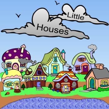Little Houses Cute, Colorful Clip Art Cottages