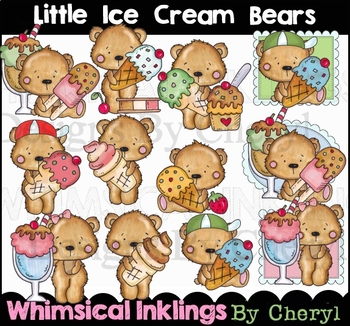 Little Ice Cream Bears Clipart Collection