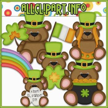 BUNDLED SET - Little Irish Bears Clip Art & Digital Stamp Bundle