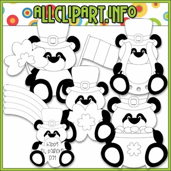 BUNDLED SET - Little Irish Panda Bears Clip Art & Digital Stamp Bundle