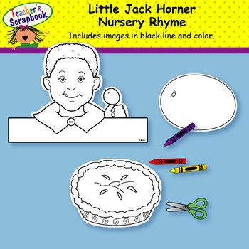 Little Jack Horner Nursery Rhyme Headbands & Sentence Strips