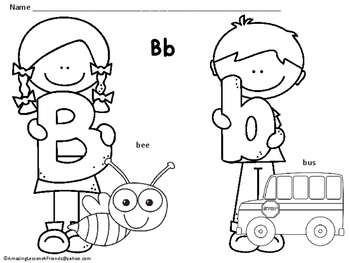 Little Kids Alphabet Coloring Sheets (NO PREP)
