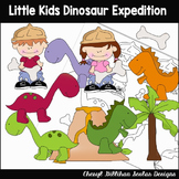 Little Kids Dinosaur Expedition Clipart Collection