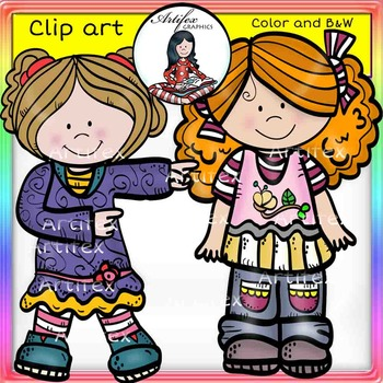 Little Kids Set 1  clip art- color and B&W