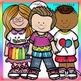 Little Kids Set 2  clip art- color and B&W