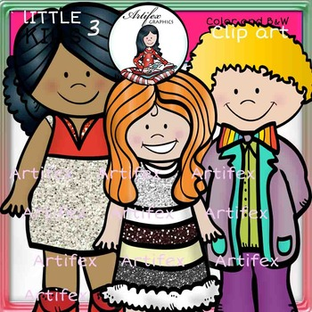 Little Kids Set 3  clip art- color and B&W