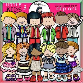 Little Kids Set 3  clip art- color and B&W