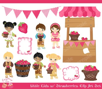 Little Kids with Strawberries Clipart Set