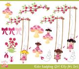 Little Lady Bug Ladybug Girls Clipart Set