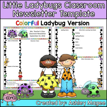 Little Lady Bugs Editable Classroom Newsletter Template - Colored Ladybugs