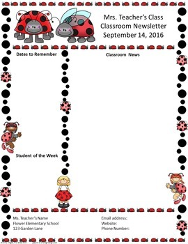 Little Lady Bugs Editable Classroom Newsletter Template Traditional Red Ladybugs