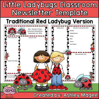 Little Lady Bugs Editable Classroom Newsletter Template Tr