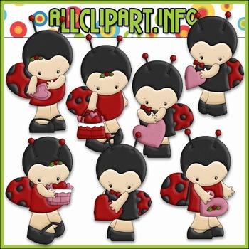 Little Ladybug Valentine Clip Art - Alice Smith Clip Art