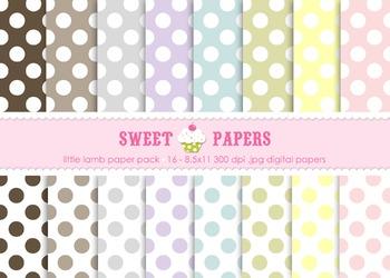 Little Lamb Pastel Polka Digital Paper Pack - by Sweet Papers