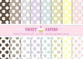 Little Lamb Pastel Polka Digital Paper Pack - by Sweet Papers