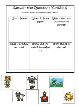 Little Lamb themed Answer the Question printable game.  Preschool daycare game.