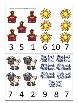 Little Lamb themed Count and Clip Cards child math curriculum.  Daycare.