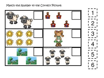 Little Lamb themed Match the Number preschool educational game.  Daycare learnin