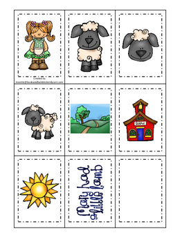 Little Lamb themed Memory Matching preschool curriculum game. Daycare