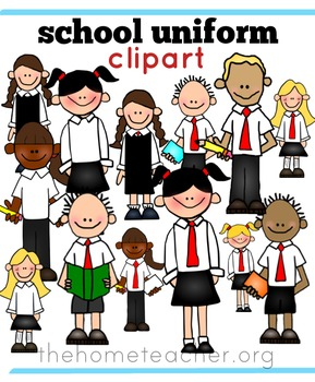 Little Learners Clipart- School Uniforms Black, White, and Red Ties