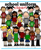 Little Learners Clipart- School Uniforms Green Gray and Maroon