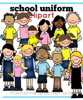Little Learners Clipart- School Uniforms Pink Yellow and Light Blue